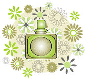 Perfume bottle with flowers Stock Image