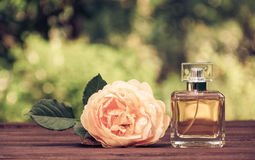 A perfume bottle and a fragrant yellow rose. Natural perfume in a square bottle on a green blurred background. Elixir of fragrant roses Stock Photo