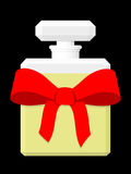 Perfume Bottle Gift. Illustration of a perfume with a red box meant as a valentine gift, isolated on a black background stock illustration