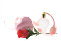 Perfume Bottle and Gift Box Royalty Free Stock Photography