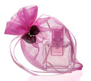 Perfume bottle in a gift sack Royalty Free Stock Image