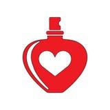 Perfume bottle. With hear shape flat icon illustration EPS 10 Stock Images