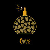 Perfume bottle with hearts inside. Gold sparkles glitter texture Black background Love Royalty Free Stock Photo