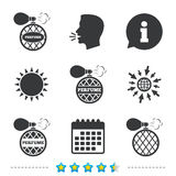 Perfume bottle icons. Glamour fragrance signs. Royalty Free Stock Image
