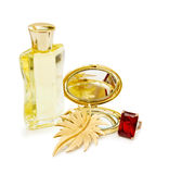Perfume bottle and jewellery Royalty Free Stock Image