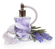 Perfume in the bottle and lavender pulverizer isolated on white Stock Image