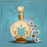 Perfume bottle and lilies Stock Photos
