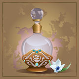 Perfume bottle and lily Stock Images