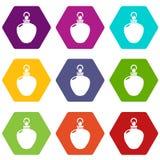 Perfume bottle merchandise icons set 9 vector. Perfume bottle merchandise icons 9 set coloful isolated on white for web Stock Photo