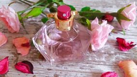 Perfume bottle with a pink fragrance and rose petals. Perfume bottle with a delicate pink fragrance and rose petals on old wooden background Royalty Free Stock Images