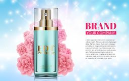 Perfume Bottle on Soft Blue Background Pink Flowers. Excellent Cosmetics Advertising, Gentle. Cosmetic Package Design. Sale or Promotion New Product. 3D Vector Royalty Free Stock Photography