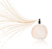 Perfume bottle spraying colorful lines Stock Image