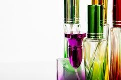 Perfume bottle Colorful White background Royalty Free Stock Image