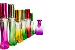 Perfume bottle Colorful White background Stock Images