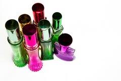 Perfume bottle Colorful White background Stock Photo