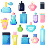 Perfume bottle vector set. Set of vector perfume fashion container smell spray. Vector illustration perfume shop symbols elegant merchandise gift. Beauty liquid Royalty Free Stock Photo