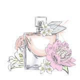 Perfume bottle vector. Trendy print. Royalty Free Stock Image
