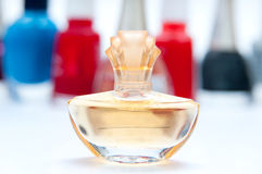 Perfume bottle view Royalty Free Stock Images