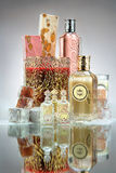 Perfume Bottles. A beautiful arrangement of different crystal perfume bottles Royalty Free Stock Image