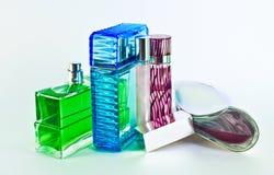 Perfume Bottles. Different perfume bottles over white royalty free stock image