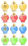 Perfume bottles. In different colors isolated on white Royalty Free Stock Photography