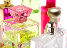 Perfume bottles. And other liquid cosmetics close up Stock Images