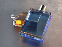 Perfume bottles - blue and orange on top of each other. Glass perfume bottles - blue and orange on top of each other royalty free stock images