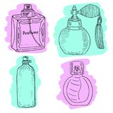 Perfume bottles with colorful brushstrokes. Vector set. Stock Image