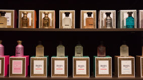 Perfume bottles at Esxence 2014 in Milan, Italy Royalty Free Stock Images