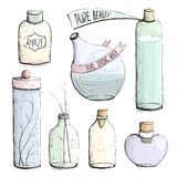 Perfume Bottles and Flask Collection Drawing Stock Photos