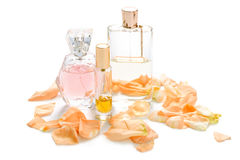 Perfume bottles with flower petals on light background. Perfumery, fragrance collection. Women accessories. Perfume bottles with flower petals on light Stock Image