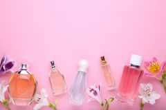 Perfume bottles with flowers on pink background, copy space royalty free stock photos