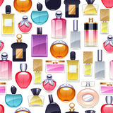 Perfume bottles icons seamless pattern. Eau de parfum. Perfume bottles icons seamless pattern. Eau de parfum background. Eau de toilette Stock Images