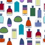 Perfume bottles icons seamless pattern. Eau de parfum. Royalty Free Stock Image