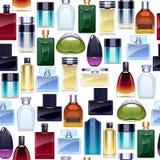 Perfume bottles icons seamless pattern. Eau de parfum. Perfume bottles icons seamless pattern. Eau de parfum background. Eau de toilette Stock Photography