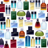 Perfume bottles icons seamless pattern. Eau de parfum. Stock Photography