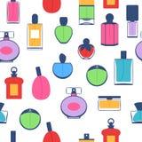 Perfume bottles icons seamless pattern. Eau de parfum. Royalty Free Stock Photos
