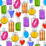 Perfume bottles icons seamless pattern. Eau de parfum. Colorful perfume bottles icons seamless pattern. Eau de parfum background. Eau de toilette. Doodle sketch Royalty Free Stock Photo
