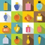 Perfume bottles icons set, flat style Royalty Free Stock Photo