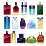 Perfume bottles icons set vector illustration. Eau de parfum. Stock Image