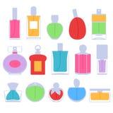 Perfume bottles icons set vector illustration. Eau de parfum. Stock Photography