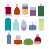 Perfume bottles icons set vector illustration. Eau de parfum. Stock Photo