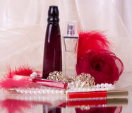 Perfume bottles, red lipstick, feather, rose Stock Photos