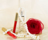 Perfume bottles, red lipstick, feather, rose Stock Images