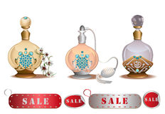 Perfume bottles sale Stock Photography