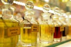 Perfume bottles. Various perfume bottles, for sale in a bazaar Stock Photo