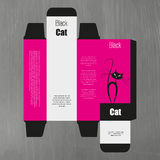 Perfume box design with black cat illustration Stock Images