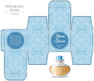 Perfume box design. With die cut. Vector illustration Royalty Free Stock Photography