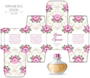 Perfume box design. With die cut. Vector illustration Royalty Free Stock Photos