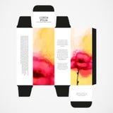 Perfume box design, with watercolor poppy Stock Image
